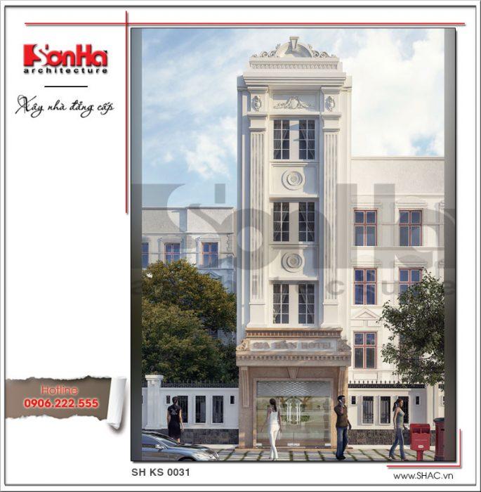 Tổng quan thiết kế mặt tiền khách sạn 4 tầng nổi bật với nền sơn trắng tại Quảng Ninh