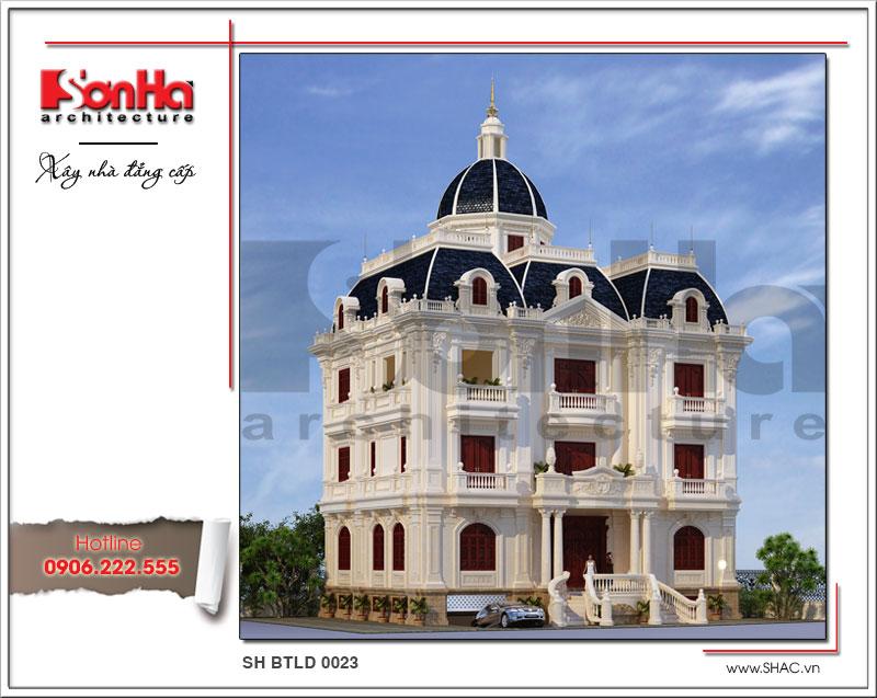 Mẫu thiết kế kiến trúc biệt thự lâu đài 3 tầng đẳng cấp SH BTLD 0023
