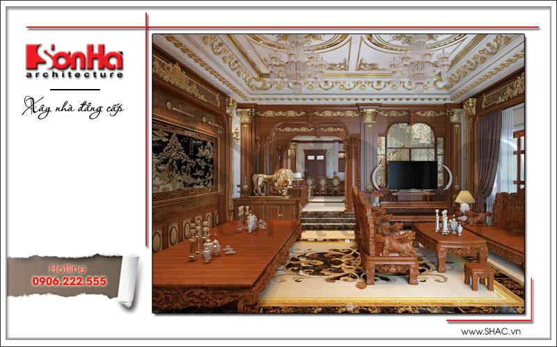 nội thất phòng khách bằng gỗ ấn tượng cho biệt thự