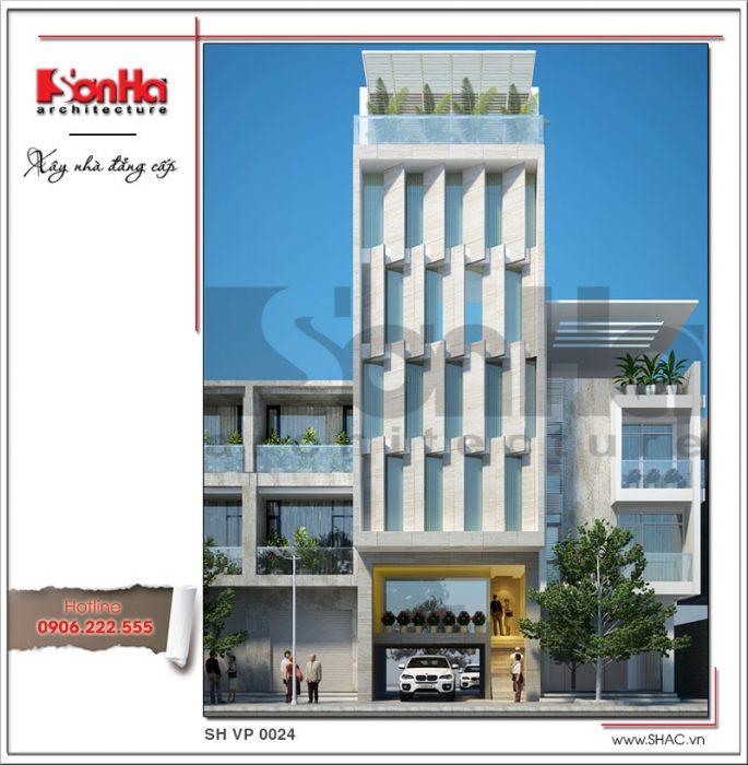 Mẫu thiết kế tòa nhà văn phòng kiến trúc hiện đại đẹp sh vp 0024