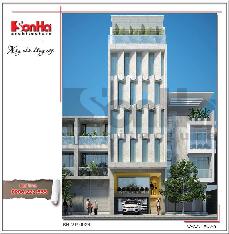 Phương án thiết kế mặt tiền đẹp của tòa nhà văn phòng kiểu hiện đại được yêu thích tại Hà Nội