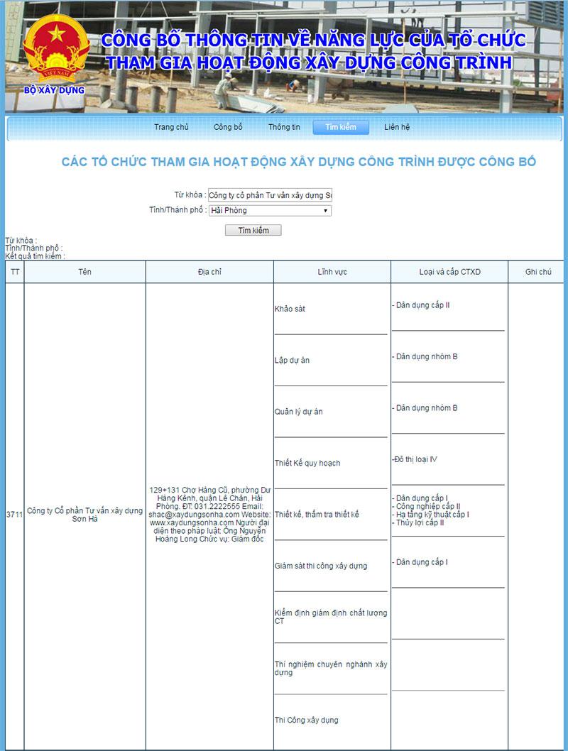 Công ty Cổ phần Tư vấn Xây dựng Sơn Hà doanh nghiệp xây dựng uy tín thành phố Cảng có tên trong danh sách năng lực tư vấn và thi công của Bộ Xây dựng