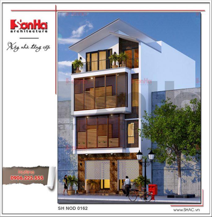 Thiết kế nhà phố hiện địa mặt tiền rộng 4 tầng tại Hà Nội sh nod 0162