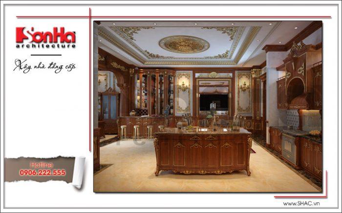 Thêm một góc view cho thấy sự đẳng cấp của mẫu thiết kế nội thất bếp lâu đài tiện nghi