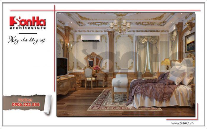 Mẫu thiết kế nội thất phòng ngủ biệt thự cổ điển đẹp quyến rũ SH BTLD 0023