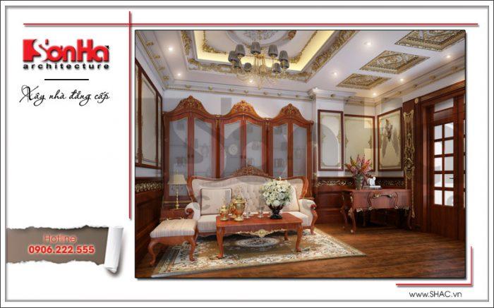 Mẫu thiết kế nội thất phòng sinh hoạt chung 2 cổ điển ấm áp SH BTLD 0023