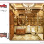 Mẫu thiết kế nội thất phòng tắm cổ điển ấm áp SH BTLD 0023