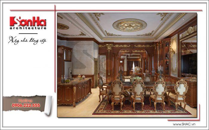 Thiết kế nội thất phòng bếp biệt thự lâu đài tinh tế và sang trọng rất được yêu thích của SHAC
