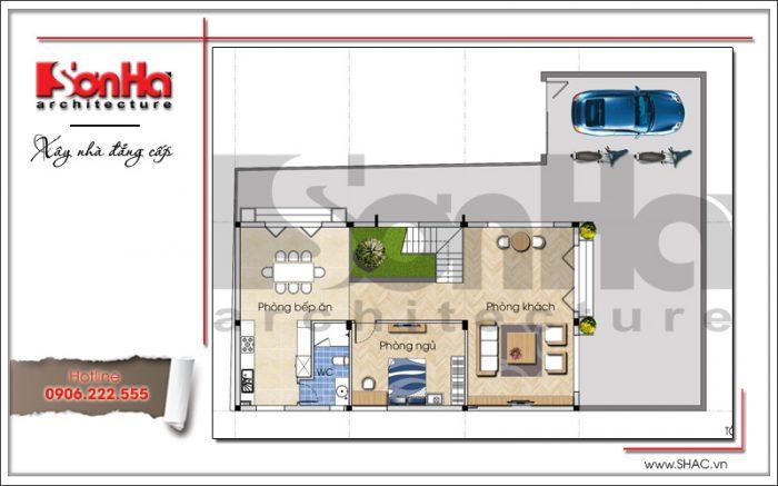 Mặt bằng công năng tầng 1 của biệt thự phố hiện đại 3 tầng được thiết kế khoa học tại Quảng Ninh