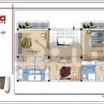 Mặt bằng công năng tầng 2 biệt thự hiện đại 3 tầng đẹp sang trọng tại Quảng Ninh SH BTD 0050