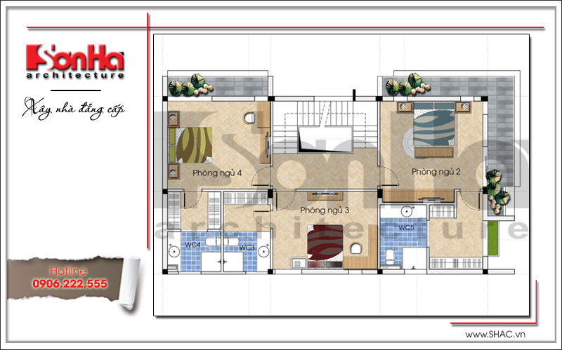 Mẫu thiết kế biệt thự hiện đại 3 tầng đẹp mới nhất [current_year] tại Quảng Ninh – SH BTD 0050 6