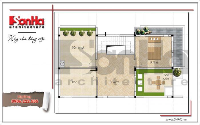 Mẫu thiết kế mặt bằng công năng tầng 2 của mẫu biệt thự hiện đại được chủ đầu tư đánh giá cao