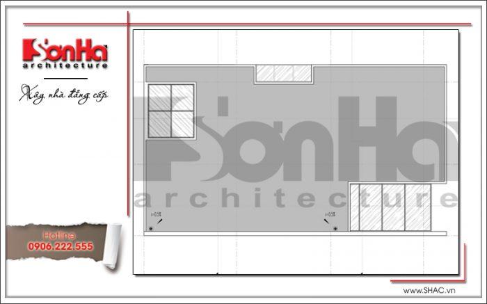 Thiết kế mặt bằng công năng tầng mái của mẫu biệt thự phố hiện đại 3 tầng đẹp tại Quảng Ninh