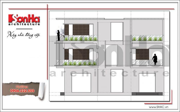 Mặt đứng ngang biệt thự hiện đại đẹp 3 tầng sang trọng tại Quảng Ninh SH BTD 0050