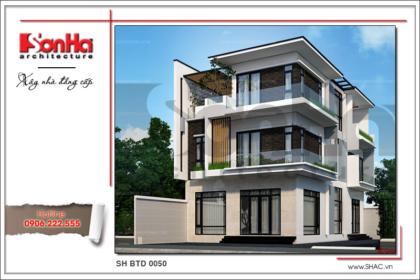 Thiết kế kiến trúc biệt thự hiện đại đẹp 3 tầng tại Quảng Ninh SH BTD 0050