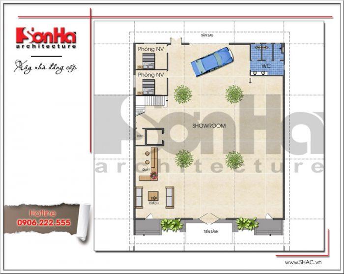 Mặt bằng công năng tầng 1 showroom kết hợp nhà ở tại Quảng Ninh sh sr 0020