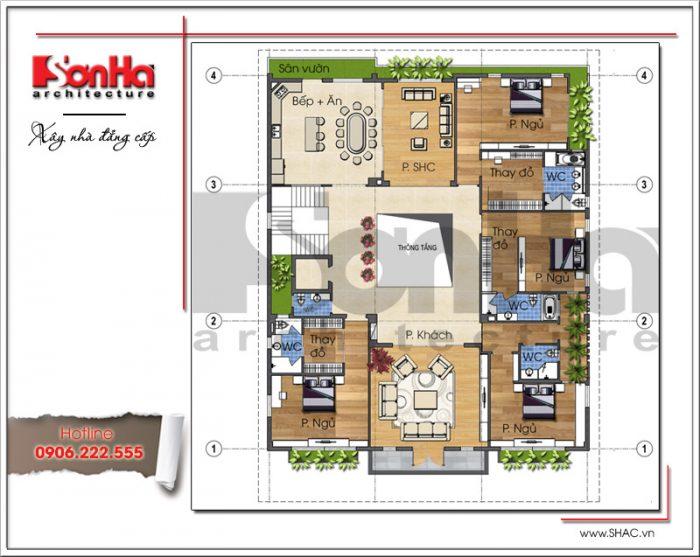 Mặt bằng công năng tầng 2 showroom kết hợp nhà ở tại Quảng Ninh sh sr 0020