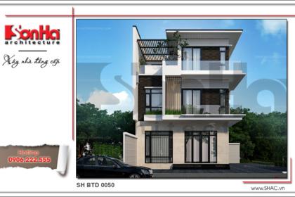 Mẫu thiết kế kiến trúc biệt thự hiện đại đẹp 3 tầng tại Quảng Ninh SH BTD 0050