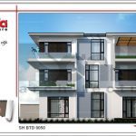 Thiết kế kiến trúc biệt thự hiện đại đẹp 3 tầng tại Quảng Ninh BTD 0050