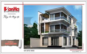 Thiết kế kiến trúc mẫu biệt thự hiện đại đẹp 3 tầng tại Quảng Ninh SH BTD 0050