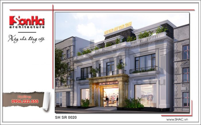 Mẫu thiết kế showroom kết hợp nhà ở tại Quảng Ninh sh sr 0020