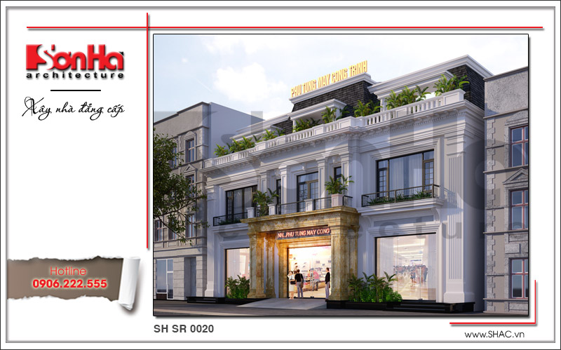 Ra mắt mẫu thiết kế showroom 3 tầng kết hợp nhà ở cao cấp tại Quảng Ninh – SH SR 0020 2