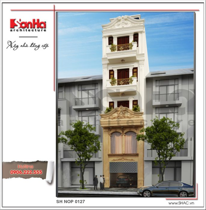 Mãu thiết kế nhà phố kiểu Pháp 5 tầng sang trọng tại Bắc Ninh sh nop 0127