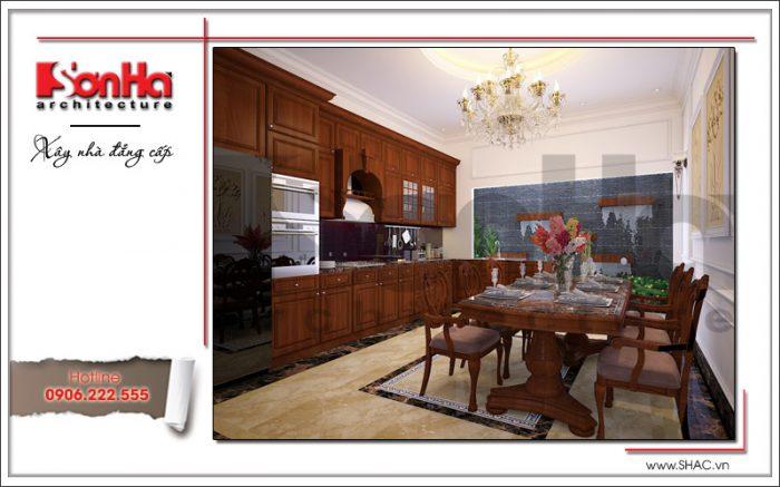 Mẫu thiết kế phòng bếp ăn ấm cúng với nội thất gỗ chủ đạo có cách sắp xếp khoa học hợp lý
