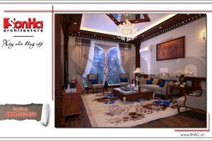 Thiết kế phòng khách nhà phố kiểu Pháp 5 tầng sh nop 0127