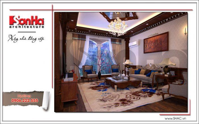 mẫu phòng khách tân cổ điển đẹp cho nhà phố biệt thự