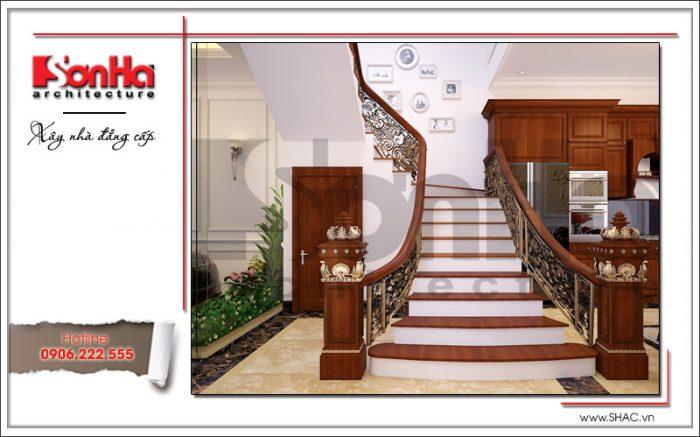 Thiết kế sảnh thang nhà phố cổ điển 5 tầng sh nop 0127