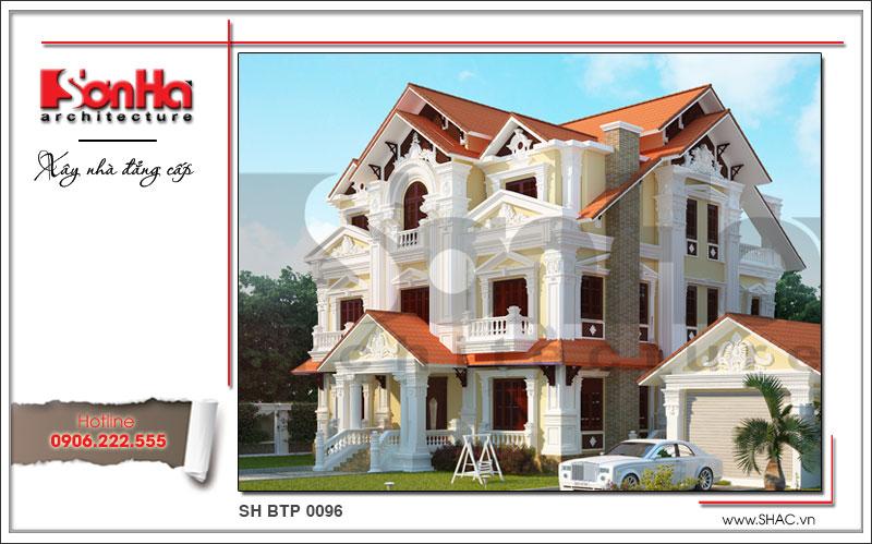 Mẫu biệt thự Pháp 3 tầng thiết kế đẹp tại Phú Thọ SH BTP 0096