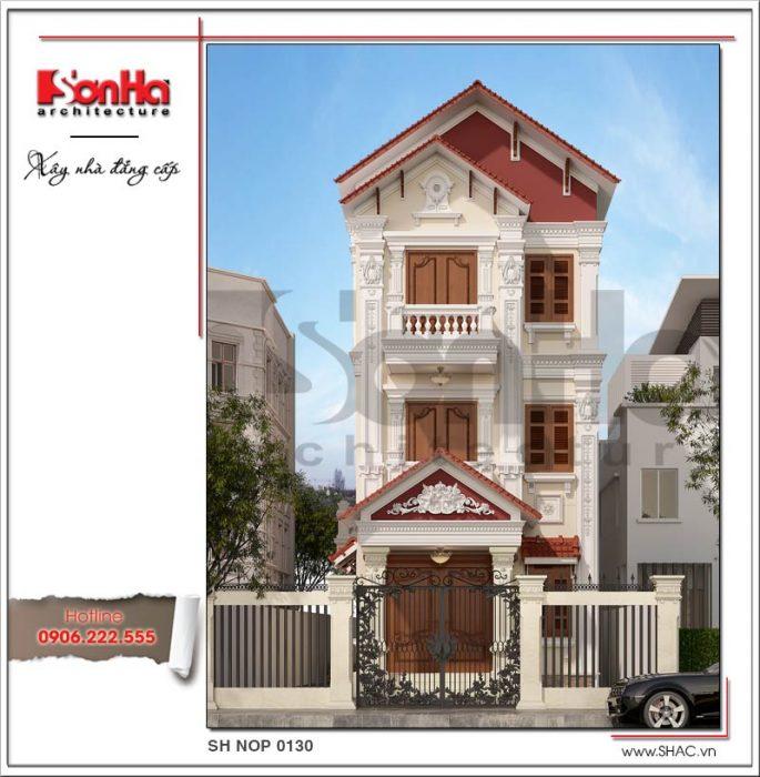 Mẫu thiết kế nhà phố cổ điiển 3 tầng tại Hải Phòng sh nop 0130