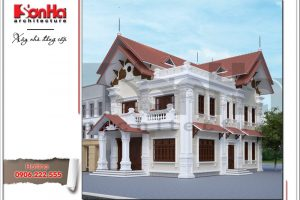 Thiết kế kiến trúc biệt thự Pháp 2 tầng tại Tiên Lãng Hải Phòng sh btp 0095 2
