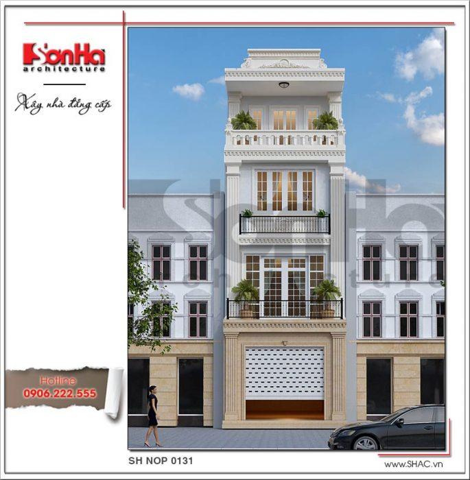 Thiết kế nhà phố 4 tầng tân cổ điển tại Hải Phòng SH NOP 0131