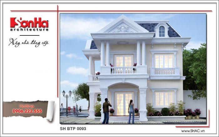 Mặt tiền đẹp của mẫu thiết kế biệt thự mini cổ điển Pháp 2 tầng mái ngói SHAC được đánh giá cao