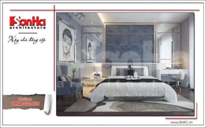 Thiết kế nội thất phòng ngủ con trai 1 nhà phố 6 tầng tại Hà Nội - SH NOP 0128