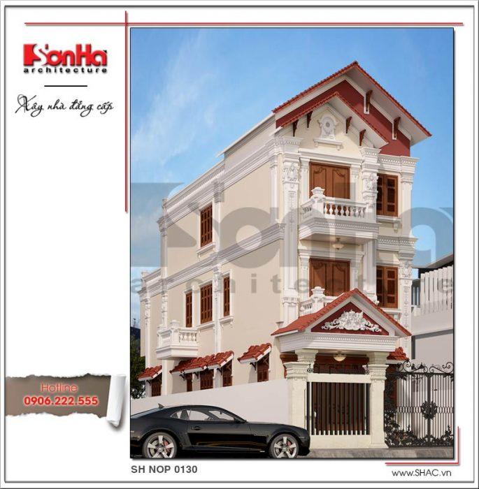 Thiết kế nhà phố cổ điển 3 tầng tại Hải Phòng sh nop 0130