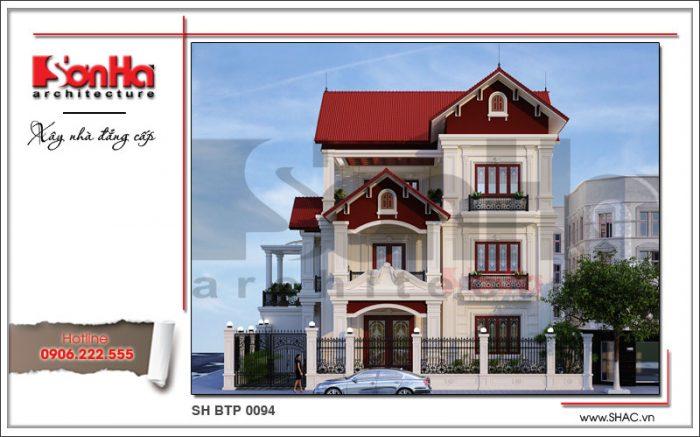 Thiết kế biệt thự kiểu Pháp đẹp có sự kết hợp khéo léo màu sắc đậm chất cổ điển