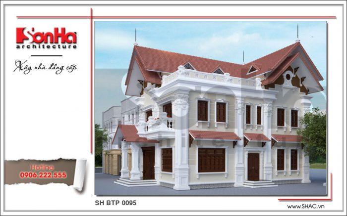 Mặt tiền của ngôi biệt thự được tạo thành từ những đường nét tinh tế, sang trọng và đẹp mắt