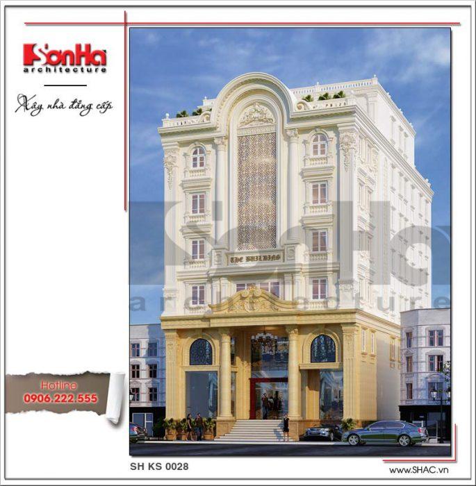 Mẫu thiết kế khách sạn kiến trúc cổ điển Pháp sang trọng tại Lào Cai sh ks 0028 2