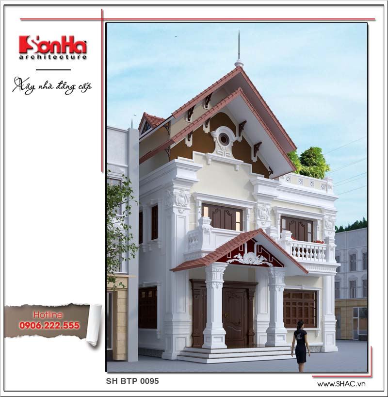 Mẫu thiết kế biệt thự kiến trúc cổ điển Pháp 2 tầng mái ngói được đề xuất cho CĐT tại Nam Định