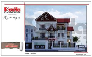 Thiết kế biệt thự kiến trúc cổ điển Pháp sang trọng tại Ninh Bình sh btp 0094 2