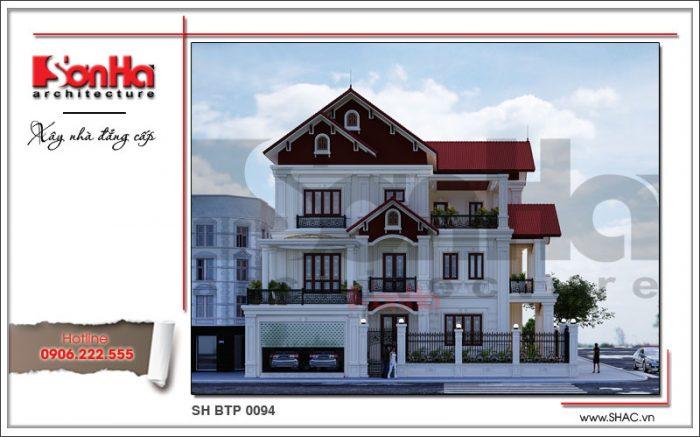 Mẫu biệt thự Pháp 3 tầng kiến trúc cổ điển nổi bật với hệ mái ngói đỏ sang trọng tại Ninh Bình