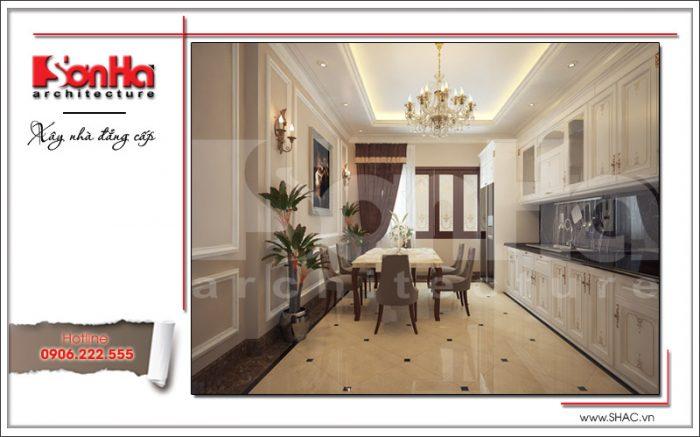 Thiết kế nội thất phòng bếp cổ điển nhà phố 6 tầng đẹp với bố trí hài hòa và vô cùng thoáng đãng