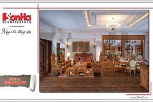 Thiết kế phòng khách nội thất gỗ đẹp đẳng cấp nhà phố kiến trúc Pháp tại Hà Nội sh nop 0126