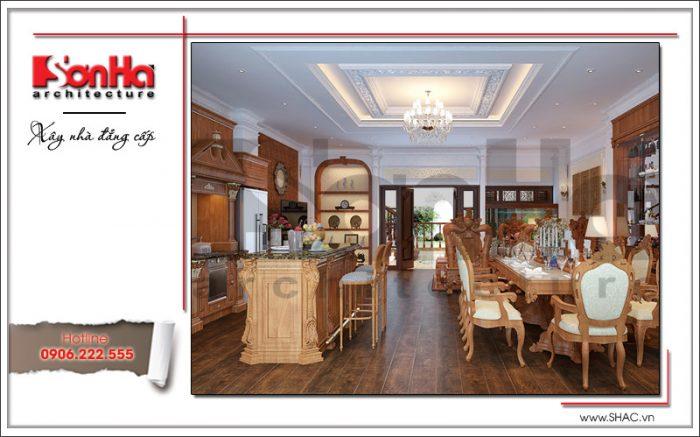 Mẫu thiết kế nội thất phòng bếp ăn sang trọng với đồ gỗ cho nhà phố kiến trúc Pháp tại Hà Nội