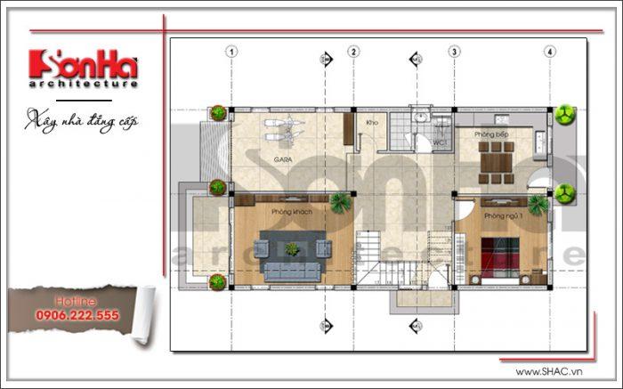 Mặt bằng công năng tầng 1 biệt thự hiện đại 2 tầng sang trọng tại Hải Phòng SH BTD 0051