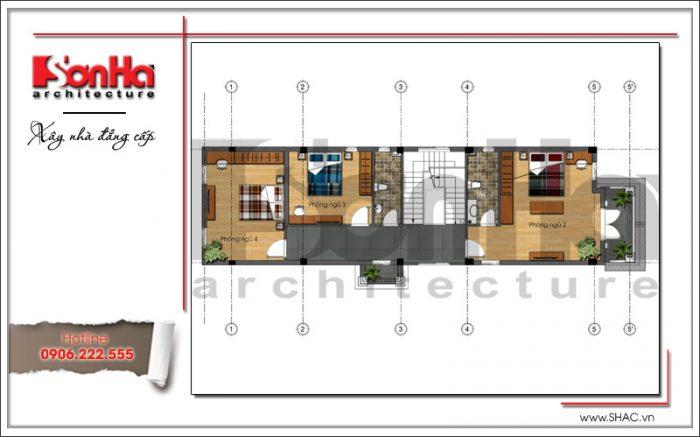 Mặt bằng công năng tầng 2 nhà phố cổ điển 3 tầng tại Hải Phòng sh nop 0130