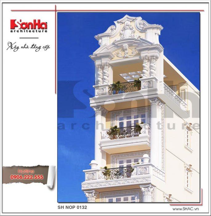 Mẫu thiết kế kiến trúc nhà phố cổ điển Pháp 8 tầng tại Sài Gòn SH NOP 0132